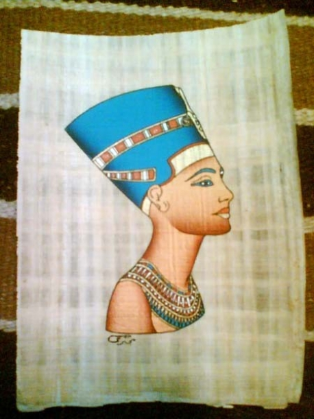 Nefertiti painted papyrus