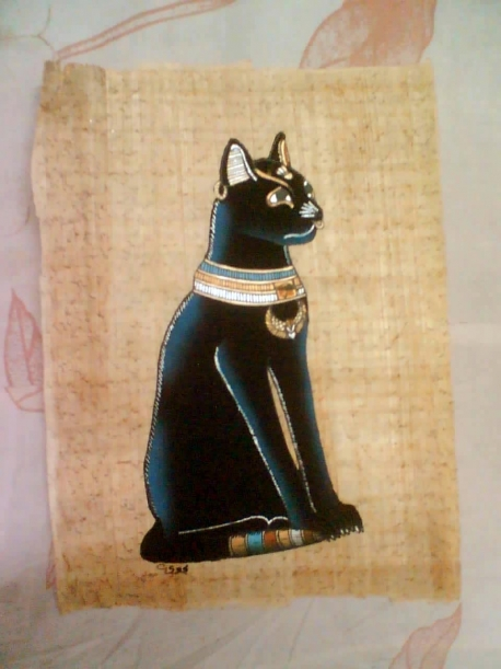 Baset or Bastet painted papyrus